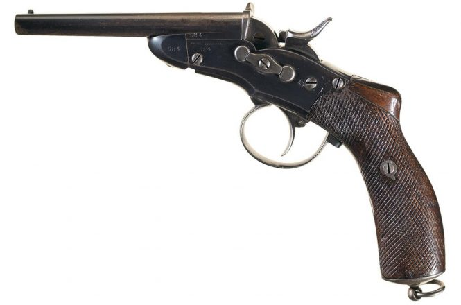 Nagant Model 1877 Gendarmerie Rolling Block Double Barrel Pistol