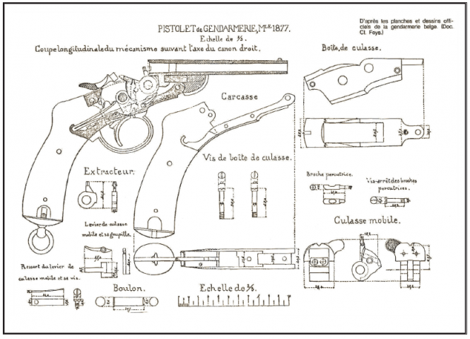 Blueprints of the Nagan M1877 pistol of the Belgian Gendarmerie