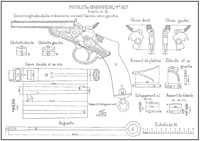 Drawings of the Nagan M1877 pistol of the Belgian Gendarmerie