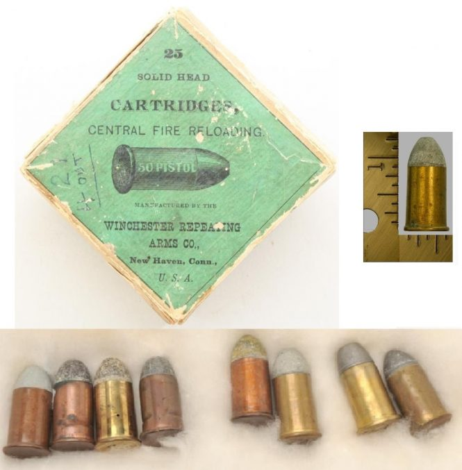 Cartridge .50 cal. for a Remington Rolling Block Pistol