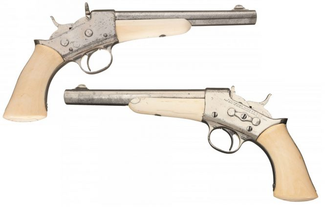 Remington Rolling Block Pistol with Ivory Grip