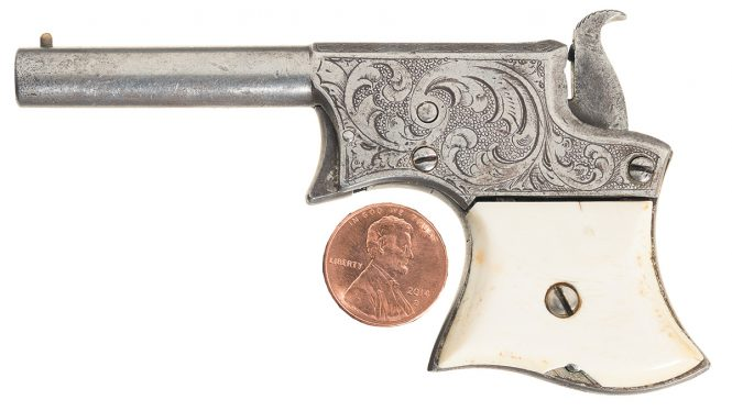 Remington Vest Pocket Pistol with engraving frame and ivory grips