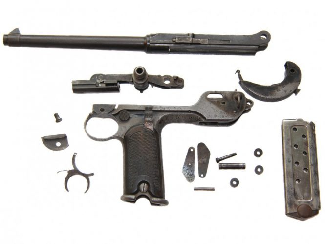 Patent Borchardt C93 disassembled Pistol