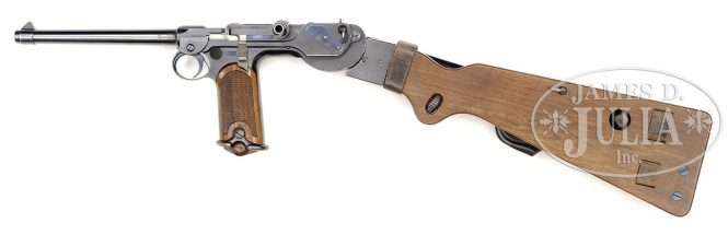 Borchardt C93 Pistol with the walnut stock/leather holster