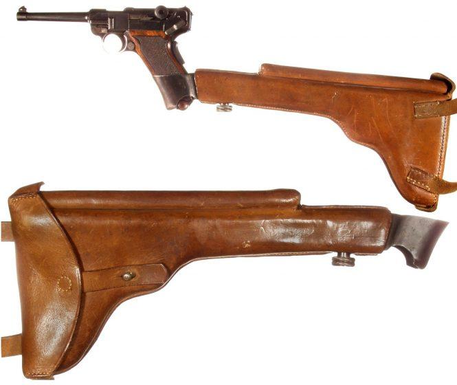 Swiss experimental holster Borchardt Luger pistol