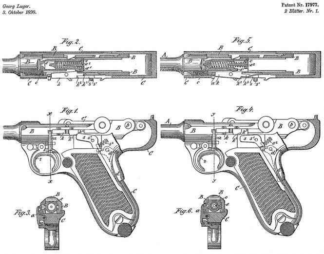 Swiss patent Georg Luger no.17977 3rd of October 1898