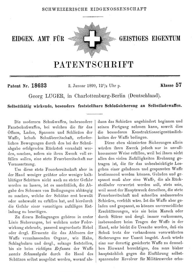Swiss patent Georg Luger no.18623 January 2nd 1899