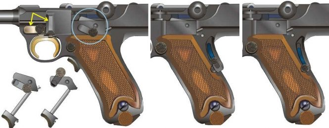 Grip safety Borchardt Luger pistol
