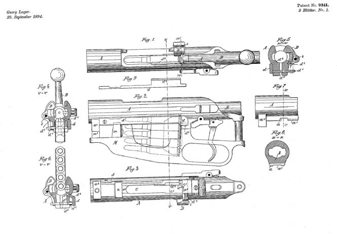 Swiss patent Georg Luger no.9341 29rd of September 1894