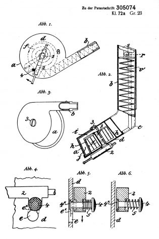 Blum's patents DRP 305 074 of 16 July 1916 drum magazine design to the lP.08
