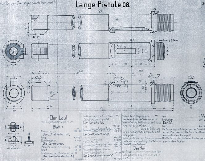 Luger Lange Pistole 08 inspection drawings