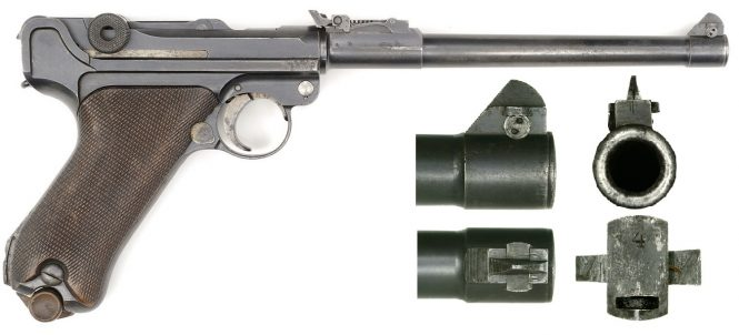 Early Luger Artillery with blade elevation zero adjustment screw