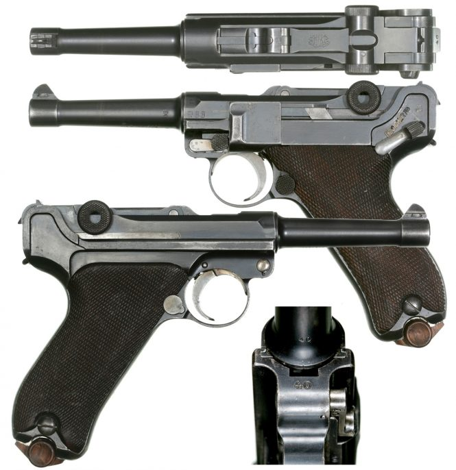 9 mm Luger pistol with Flat-nosed Steel Jacketed Bullet