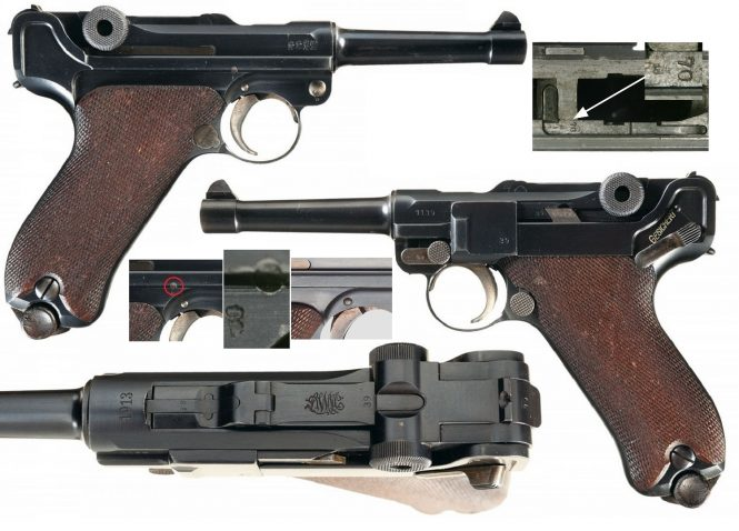 Retrofitted P.08, the hold-open lever being marked on the top surface with the pistol serial number