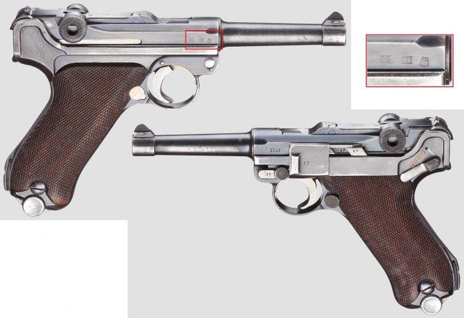 """Pistol 08, Mauser, code """"G - S/42"""", 1st variant"""