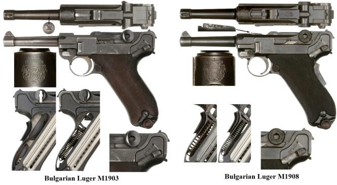 Bulgarian Luger M1903 and Bulgarian Luger M1908 converted to 9 mm calibre
