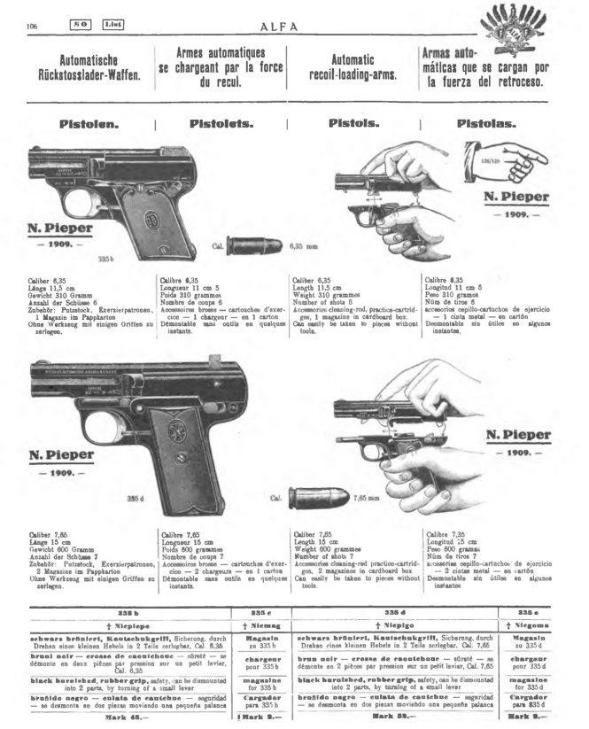 Nicolas Pieper Pistol in Alfa Waffenkatalog