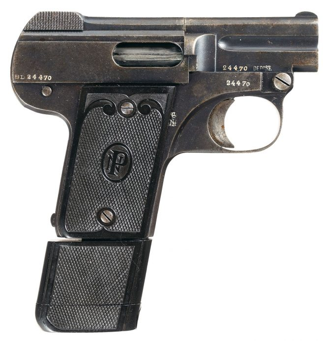 Nicolas Pieper Pistol model BD with Extended Magazine