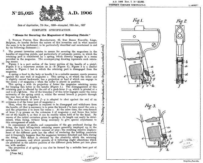 Nicolas Pieper patent A.D.1906 Nov 7 №25025