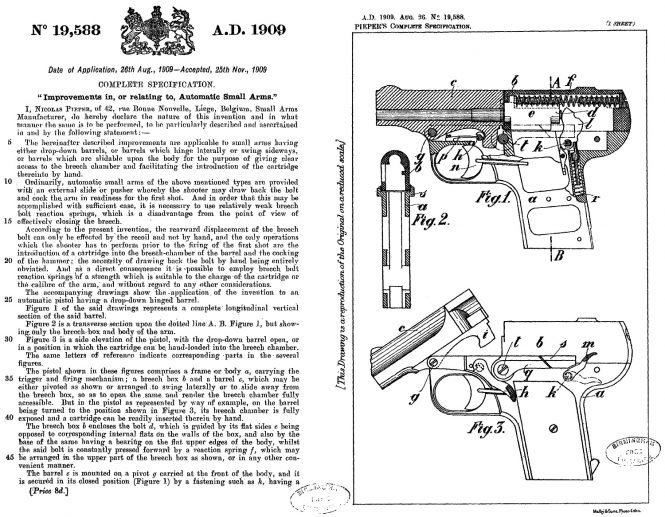 Nicolas Pieper patent A.D.1909 Aug 26 №19588