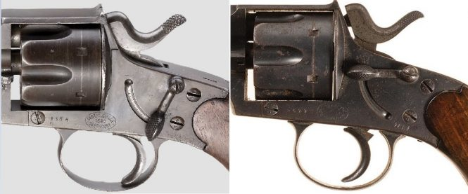 Reichsrevolver M1879 safety lever on the left side of the frame
