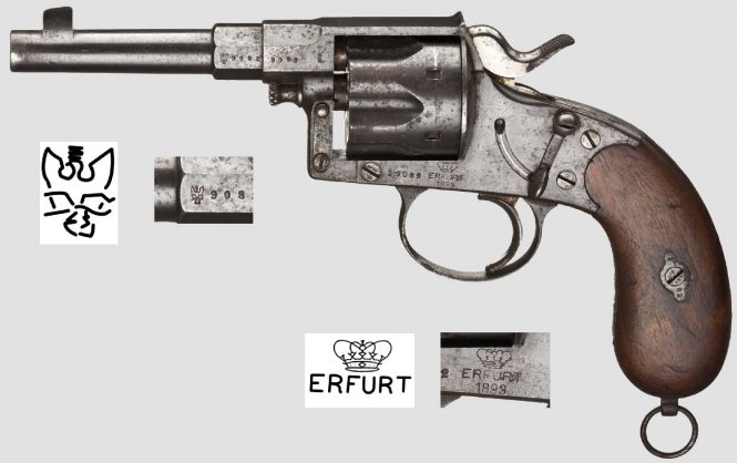 Reichsrevolver M1883 manufactured by the Royal Prussian Armory at Erfurt