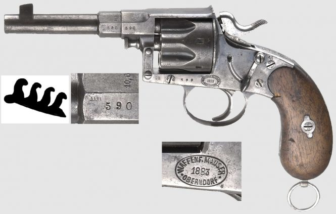 Reichsrevolver M1883 produced by Waffenf. Mauser Oberndorf