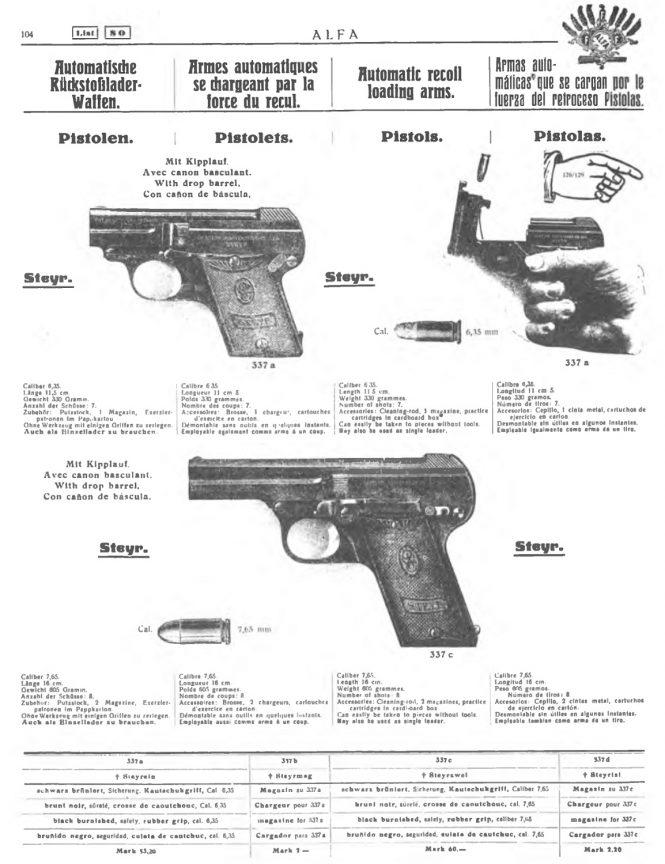 Steyr-Pieper Pistol in Alfa Waffenkatalog