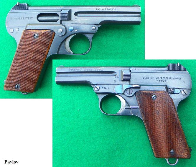 Steyr-Pieper Pistol 7.65mm wooden grips
