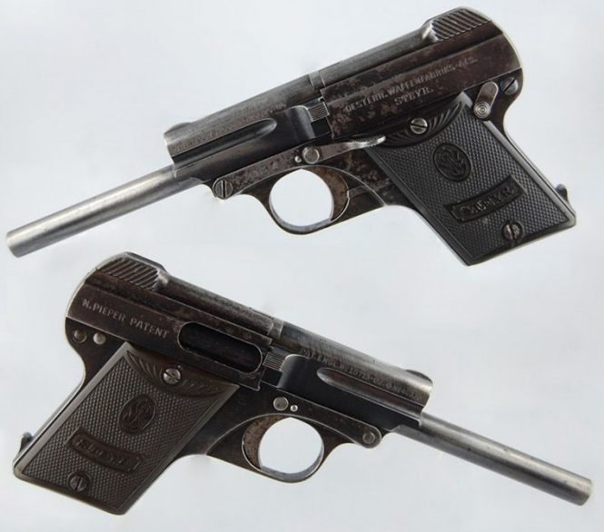Steyr-Pieper Pistol M.1909 6,35 mm with a long barrel
