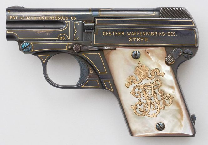 Steyr Model 1909 Pistol with with inlaid with gold and pearl grip