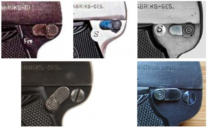Steyr Model 1909 Pistol safety lever varieties
