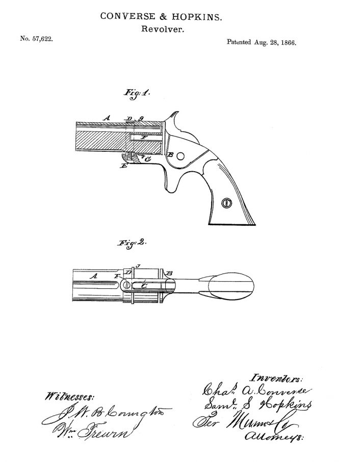 Patented by Charles A. Converse and Samuel S. Hopkins Continental Arms Ladies Companion Pepperbox
