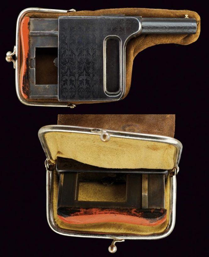 Gaulois pistol Purse Holster clasp sheaths metallic felt