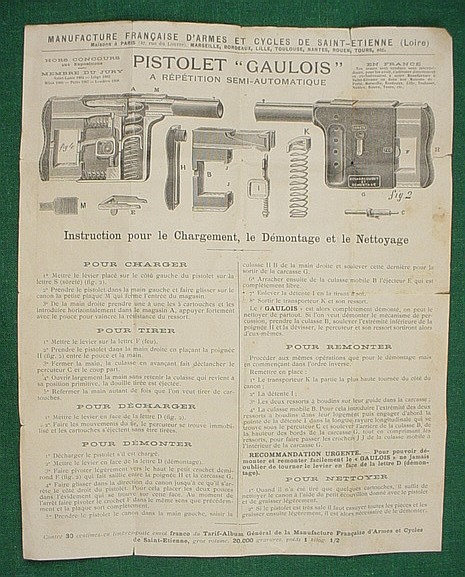 Instructions for the Pistolet Gaulois