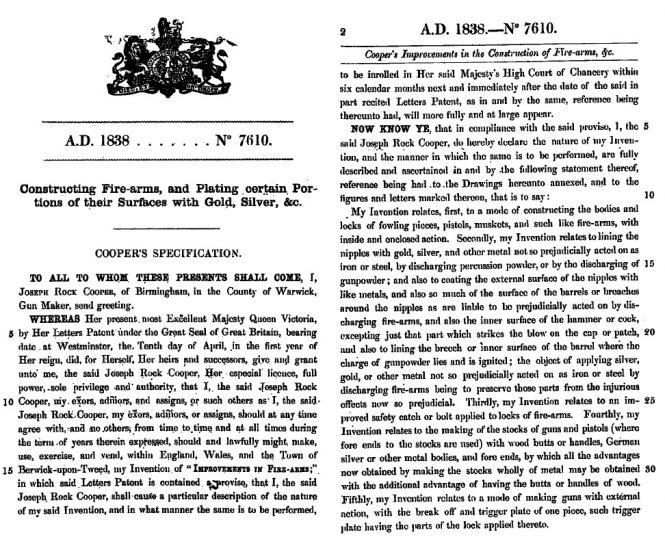 J. R. Cooper patent GB7610, 10/04/1838