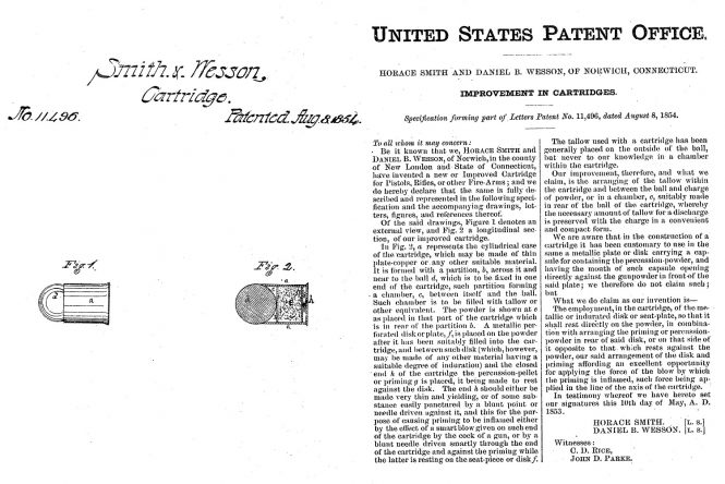 On August 8, 1854, Horace Smith and Daniel B. Wesson were issued US Patent # 11496