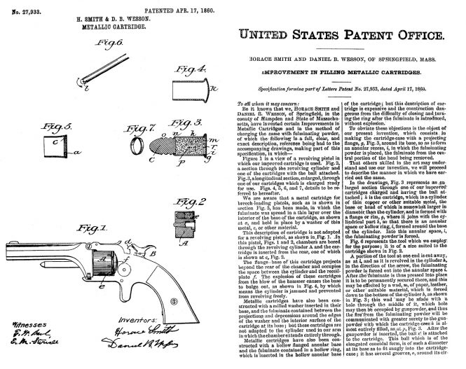 April 17, 1860, Horace Smith and Daniel B. Wesson US Patent №27933