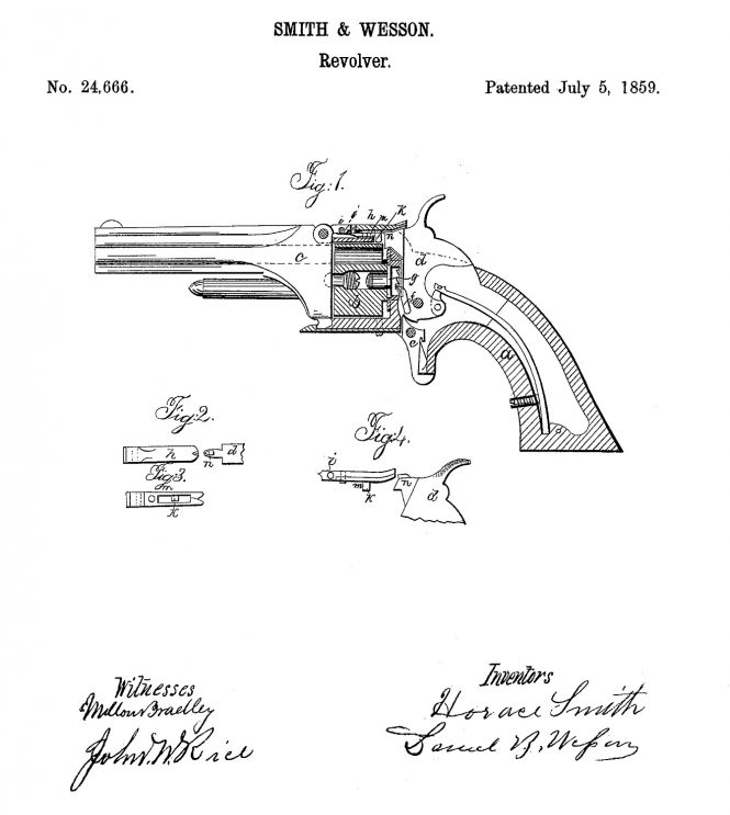 July 5, 1859, Horace Smith and Daniel B. Wesson US Patent №24666