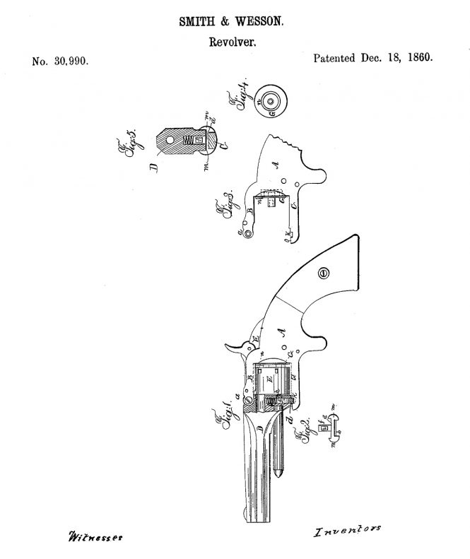 December 18, 1860, Horace Smith and Daniel B. Wesson US Patent №30990