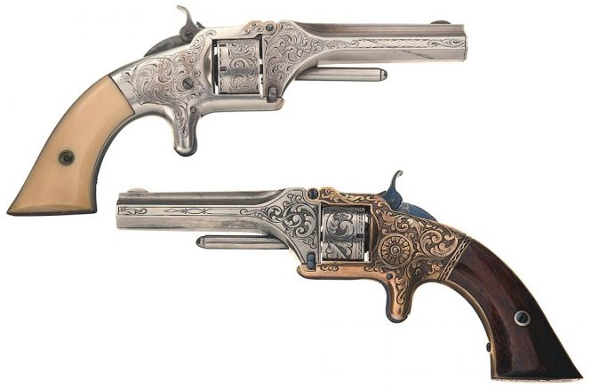 Smith & Wesson Model 1 First Issue Revolvers engraved in relief