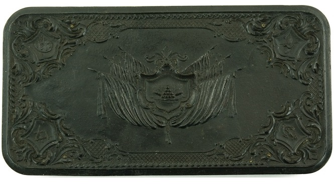 "Second model of gutta percha case, known as the ""Stand of Flags"""