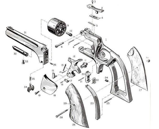Smith & Wesson Model 1 Second Issue Index of the parts