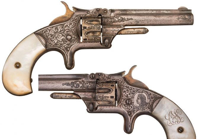 Smith & Wesson Model №1 Third Issue Revolver Engraved, Silver and Gold Plated